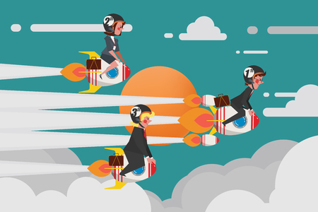 Business Concept, Young Business Group Únete a una desafiante carrera de cohetes, Cartoon Character Design flat style