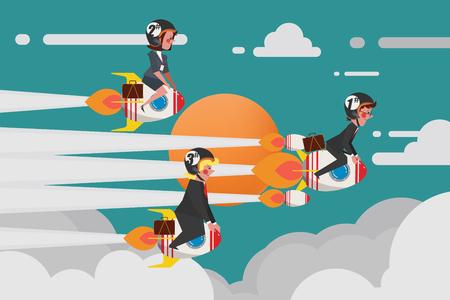 Geschäftskonzept, junge Geschäftsgruppe Schließen Sie sich einem herausfordernden Raketenrennen, flache Art des Karikatur-Charakter-Designs an