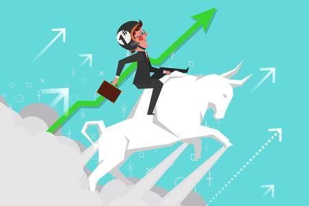 Bedrijfsconcept, jonge zakenlieden rijden stierengevechten stijgende in de lucht, Cartoon Character Design vlakke stijl