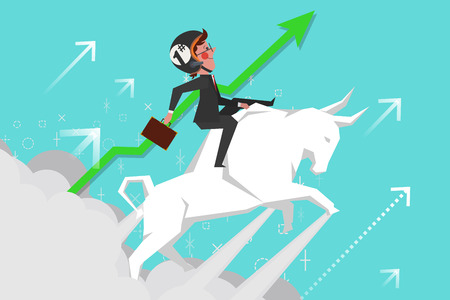 Business Concept, Young businessmen riding bullfights soaring into the sky, Cartoon Character Design flat style Ilustração
