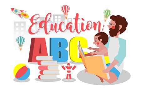 Concept de l'éducation, papa est la lecture à son fils, style plat Cartoon Design plat Banque d'images - 87205119