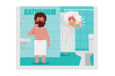 In the bathroom, Men are brushing, women are bathing Calling a man to pick her a towel, Cartoon Character Design flat style Illusztráció