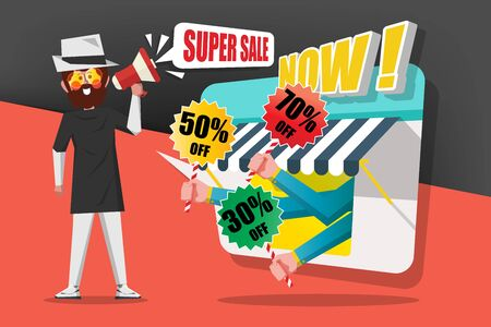 Sale and Shopping Concept, Gentlemen use the call megaphone to call customers to buy in the shop, Cartoon Character flat style design Illustration