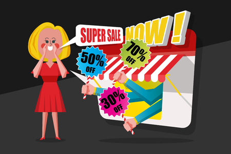 Sale and Shopping Concept, Ladies pray red dress shouted to customers to buy in the shop, Cartoon Character flat style design Stock Vector - 87205126