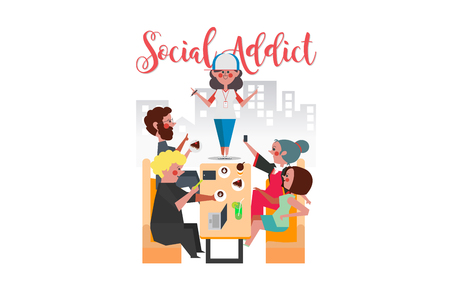Social Addict, Young men and women sitting in coffee shops all use smart phones, Cartoon Character Design flat style Illustration