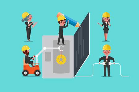 Web Development Team Building, Concept Design Cartoon Character flat style