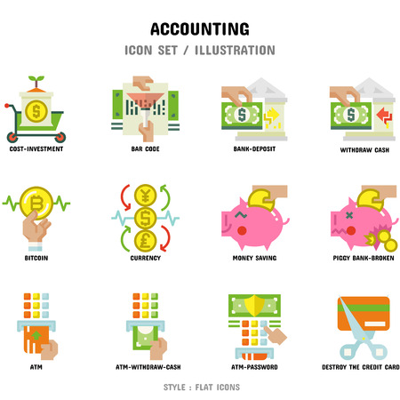 Accounting Icon Set, 12 icons for web design and vector illustration