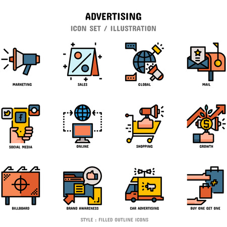 Advertising Icon Set, 12 icons for web design and vector illustration