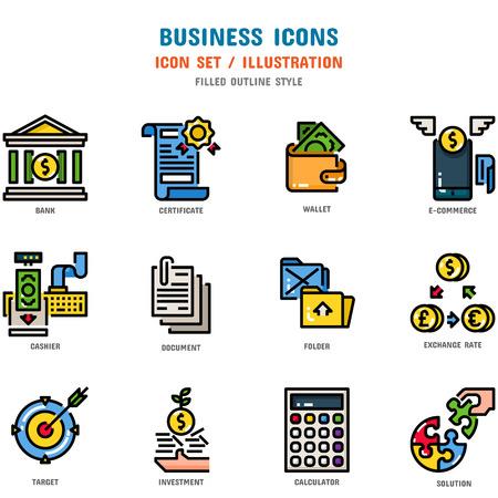 Set di icone aziendali, 12 icone per il web design e illustrazione vettoriale Vettoriali
