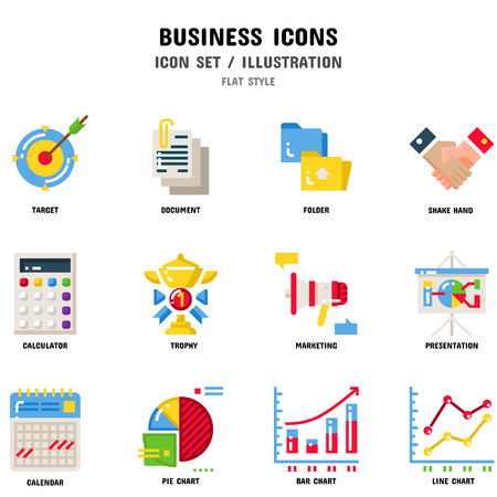 Business Icon Set, 12 icons for web design and vector illustration Banco de Imagens - 112053021