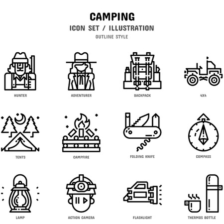 Camping Icon Set, 12 icons for web design and vector illustration 写真素材 - 112053022