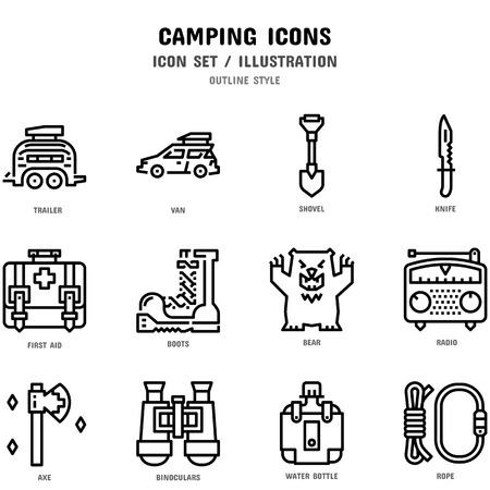 Zestaw ikon kempingowych Ilustracje wektorowe