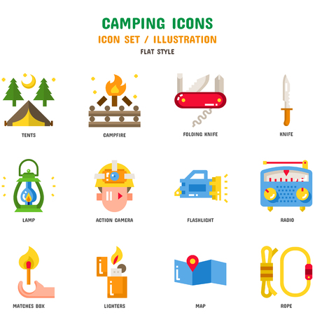 Camping Icon Set Stock fotó - 112053028
