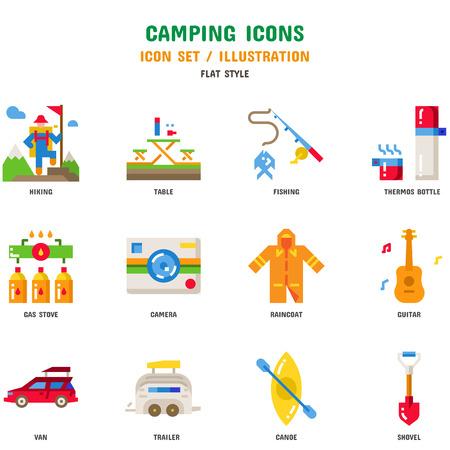 Ensemble d'icônes de camping