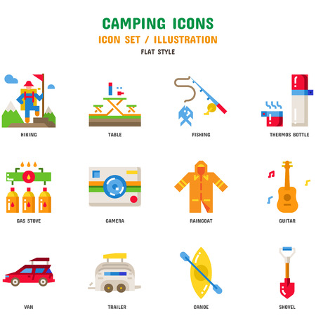 Set di icone di campeggio