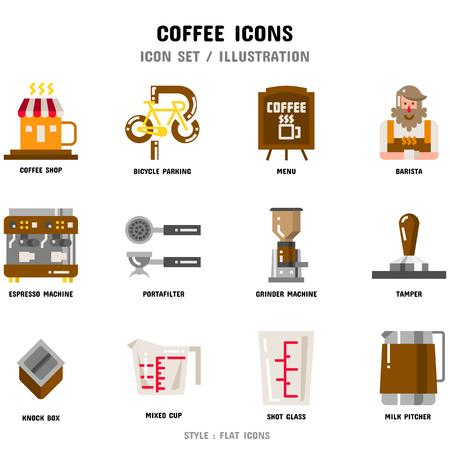 Conjunto de iconos de café Ilustración de vector