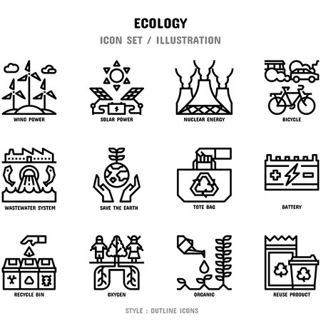 Ecology Icon Set, 12 icons set for web design and vector illustration Banco de Imagens - 112053033