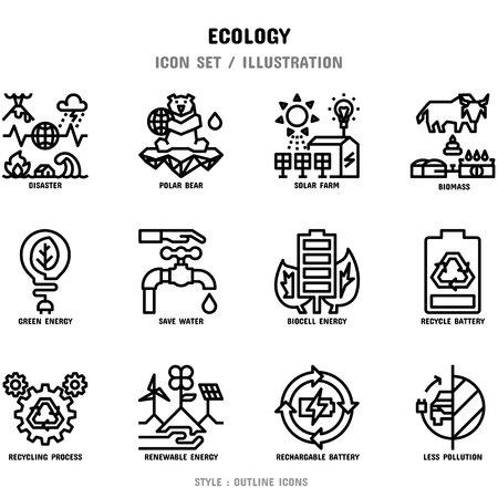 Ökologie Icon Set, 12 Icons Set für Webdesign und Vektorillustration