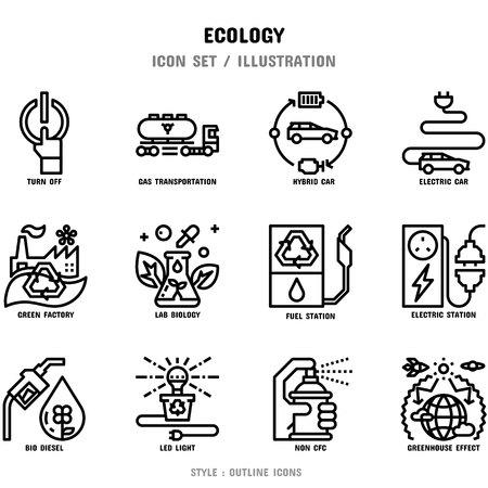 Ecologie Icon Set, 12 pictogrammen voor webdesign en vectorillustratie