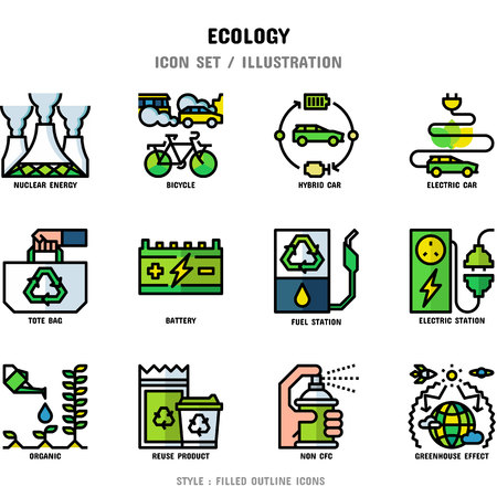 Ecology Icon Set, 12 icons set for web design and vector illustration Ilustracja