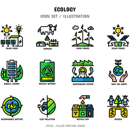 Ecology Icon Set, 12 icons set for web design and vector illustration Ilustração