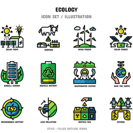 Ensemble d'icônes d'écologie, 12 icônes définies pour la conception de sites Web et l'illustration vectorielle