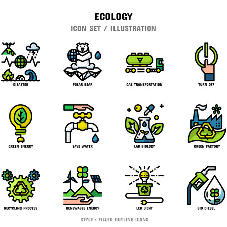 Ecology Icon Set, 12 icons set for web design and vector illustration Illusztráció