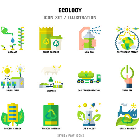 Ecology Icon Set, 12 icons set for web design and vector illustration Çizim