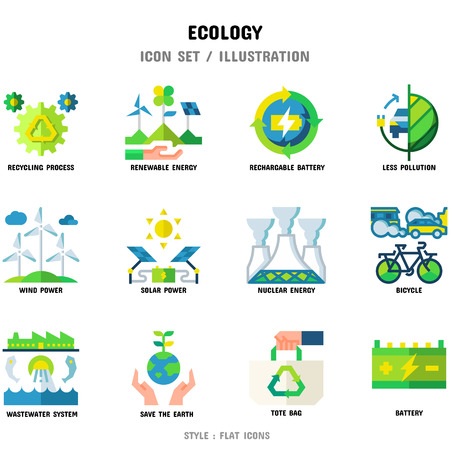Ecology Icon Set, 12 icons set for web design and vector illustration Ilustrace