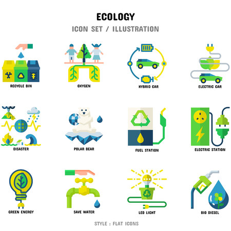 Ecology Icon Set, 12 icons set for web design and vector illustration 일러스트