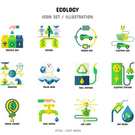 Set di icone di ecologia, set di 12 icone per il web design e illustrazione vettoriale Vettoriali