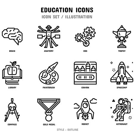 Education Icon Set, 12 icons set for web design and vector illustration Zdjęcie Seryjne - 112053043
