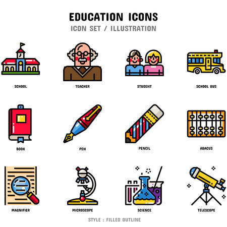 Education Icon Set, 12 icons set for web design and vector illustration Stockfoto - 112053044