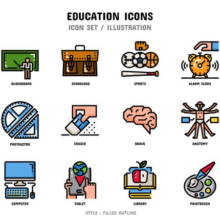 Jeu d'icônes de l'éducation, 12 icônes pour la conception web et illustration vectorielle Vecteurs