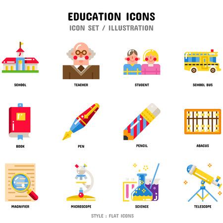 Jeu d'icônes de l'éducation, 12 icônes pour la conception web et illustration vectorielle