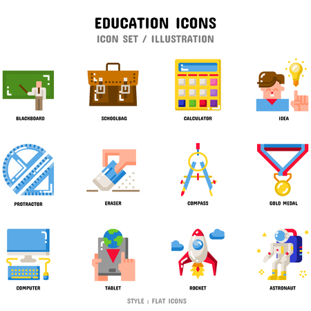 Education Icon Set, 12 icons set for web design and vector illustration Banco de Imagens - 106235404