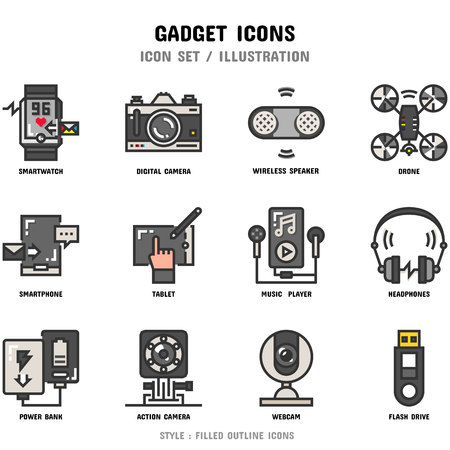 Gadget Icon Set, 12 icons for web design and vector illustration Stok Fotoğraf - 112053050