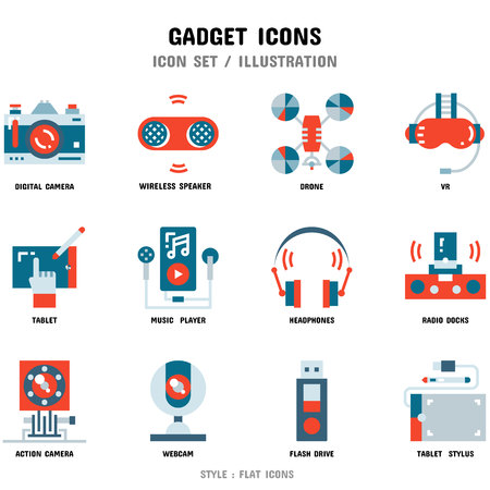 Gadget Icon Set, 12 icons for web design and vector illustration