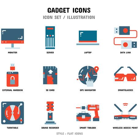 Gadget Icon Set, 12 Icons für Webdesign und Vektorillustration and Vektorgrafik
