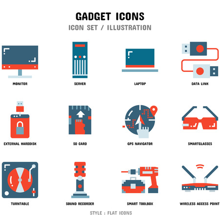 Gadget Icon Set, 12 icons for web design and vector illustration 스톡 콘텐츠 - 112053057
