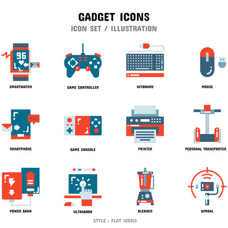 Gadget Icon Set, 12 icons for web design and vector illustration Zdjęcie Seryjne - 112053058