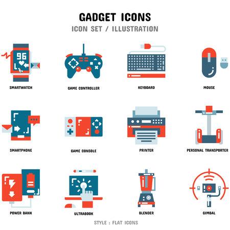 Zestaw ikon gadżetów, 12 ikon do projektowania stron internetowych i ilustracji wektorowych