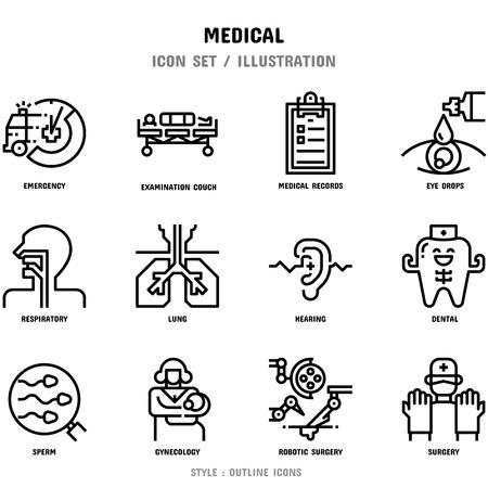 Conjunto de iconos médicos, 12 iconos para diseño web e ilustración vectorial