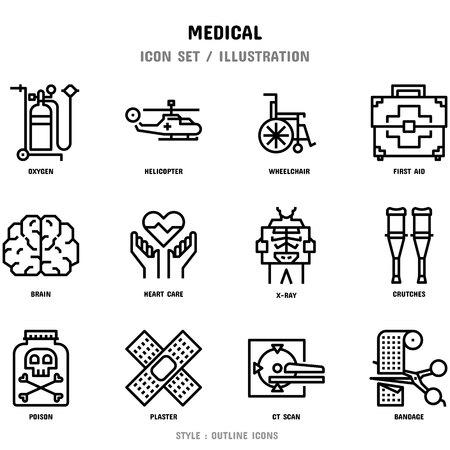 Ensemble d'icônes médicales, 12 icônes pour la conception Web et l'illustration vectorielle Vecteurs