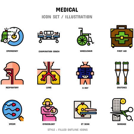 Medical Icon Set, 12 icons for web design and vector illustration Zdjęcie Seryjne - 111026756