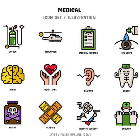 Set di icone mediche, 12 icone per il web design e illustrazione vettoriale