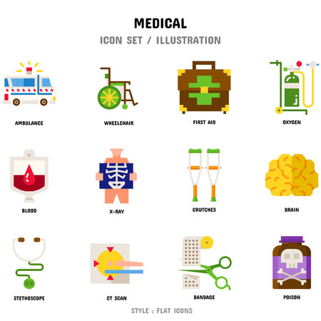 Medical Icon Set, 12 icons for web design and vector illustration Vettoriali