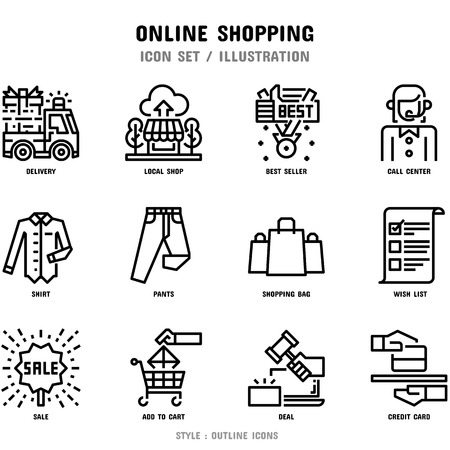 Conjunto de iconos de compras en línea, 12 iconos para diseño web e ilustración vectorial Ilustración de vector
