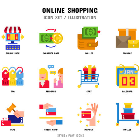 Online Shopping Icon Set, 12 icons for web design and vector illustration