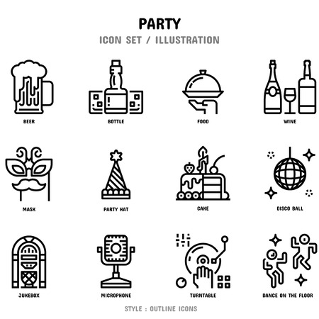 Party Icon Set, 12 icons for web design and vector illustration 向量圖像